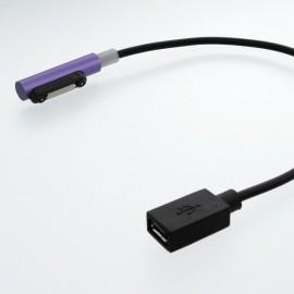 Magnetický konektor micro USB Sony Xperia, fialový