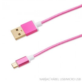 Dátový kábel micro USB, textilný, 1,2 m, ružový