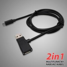 Dátový kábel z USB na micro USB, 2 v 1, čierny