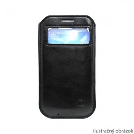 Koženková vsuvka s okienkom iPhone 5, čierna