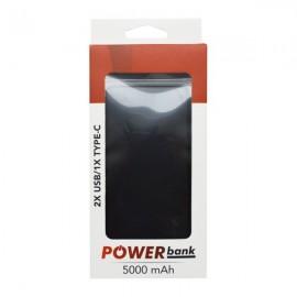 Powerbank 5000 mAh čierny 2xUSB + TypeC/Micro